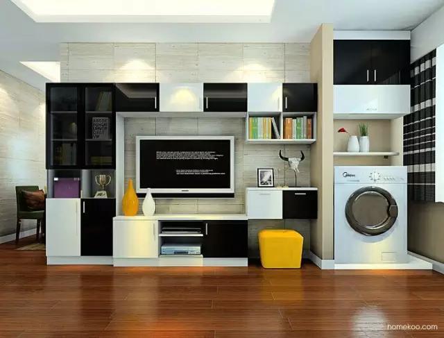 装修的时候,时常有各种问题纠结着你的想法,比如:洗衣机该放哪?特别小户型装修的时候最纠结啦,对于小的空间,洗衣机放在哪里比较合理,又节省空间,又美观整洁呢? 洗衣机放阳台 常见的搭配:洗衣机+ 矮柜+矮柜上做水池    洗衣机放阳台有2个好处,好处1是洗衣机体积比较大,比较占地方,对于小户型来说放在别的地方实在太挤了。
