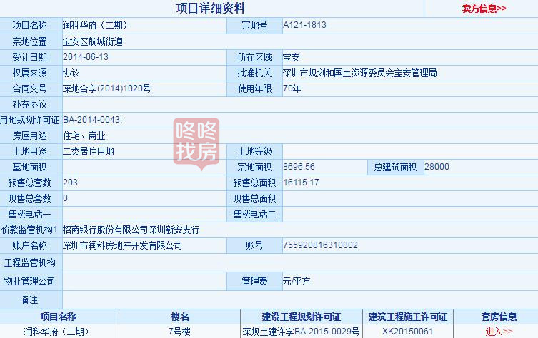 深圳润科华府楼盘地铁7号线备案信息