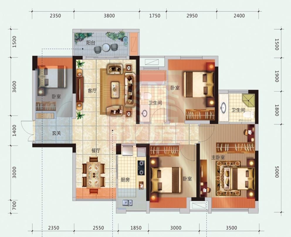 d户型 105平 四房两厅两卫 风光阳台 通透双厅 浪漫主卧