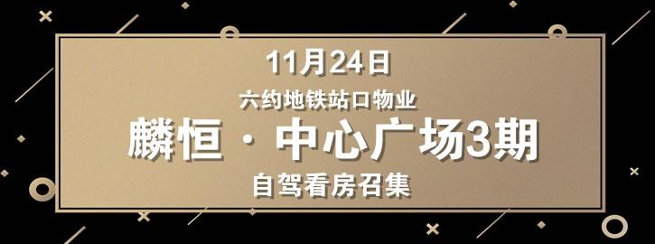 11月24日六约地铁站口物业麟恒·中心广场自驾看房召集