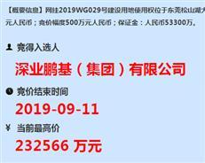 深业集团!激战91轮 23.3亿夺得松山湖5万㎡商住地