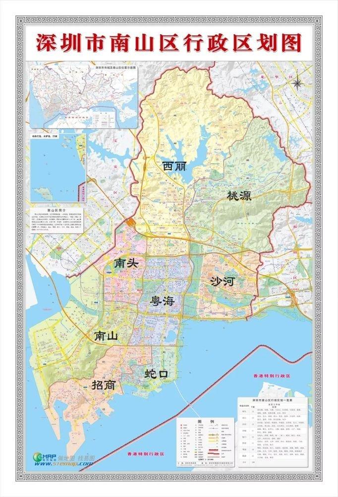 南山区街道划分高清�_西临南海大道,南至东滨路,北到北环路,是南山区唯一一个与其他7个街道